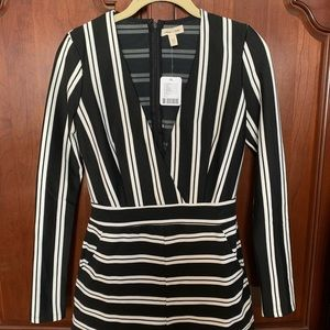 Silence & Noise Striped Long Sleeve Romper NWT